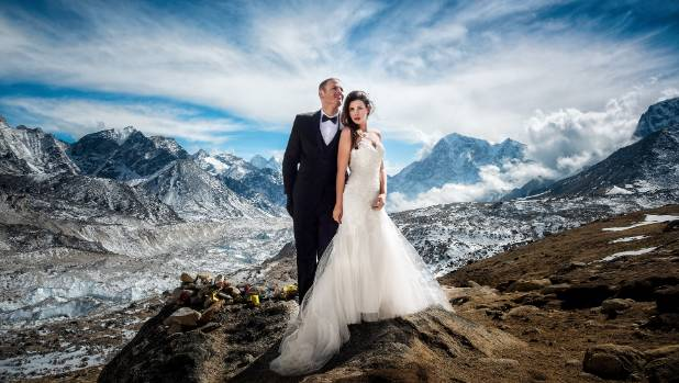 Image result for Couple brave freezing weather for wedding on Mount Everest