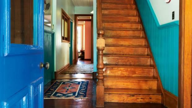 Colour greets visitors at the door at Rhondda and Hugo's Carterton home.