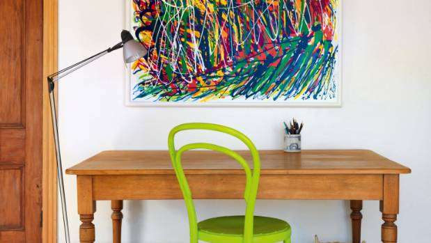 Rhondda painted the green chair in the master bedroom to pick up on the colours in Tracks Through Trees, a painting from ...