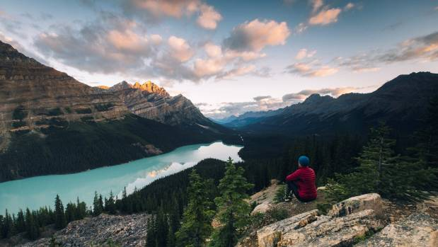 Early morning at Peyto Lake, Icefields Parkway, Alberta, Canada.
