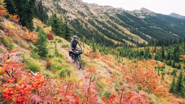 Autumn colours and a fun singletrack on the Great Divide route, Montana, USA.