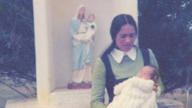 Nina with Aroha at his christening in 1976.