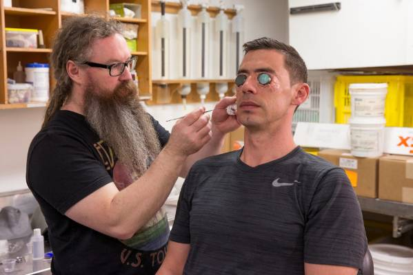 A Weta Workshop artist working on makeup for Ghost in the Shell movie.