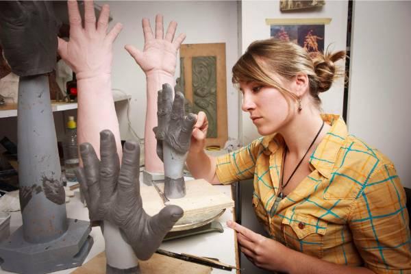 An artist at work in Weta Workshop.
