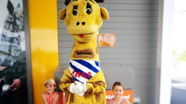 Harold the giraffe sticks out during visits to two of Rodney's Z petrol stations.