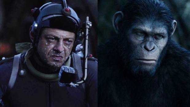 Andy Serkis acting in a performance capture suit on location in Dawn of the Planet of the Apes.