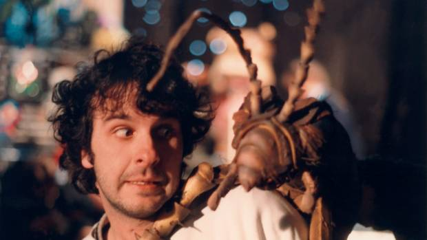 A young Peter Jackson on the set of his second film, Meet the Feebles.