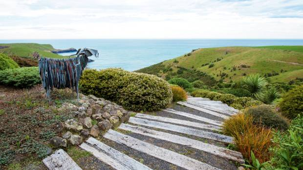 A corrugated iron mountain goat stands sentinel at the peak of the hebe hill at Fishermans Bay Garden.