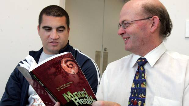 """Authors of the """"Maori Health"""" book, Peter Caccioppoli (left, Chairman of the Kotahitanga Trust) and then-registered ..."""