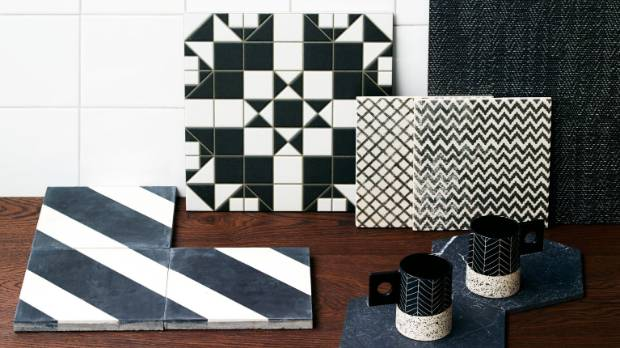Seda white gloss 150 x 150mm wall tiles $34/sqm, (leaning tiles, from left) Harrow Grafito 300 x 300mm $34/sqm, Maku ...