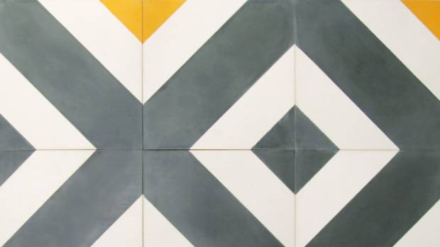 Candycane tile in Grey/White/Yellow 200 x 200mm $5.10 per tile from Gallery 4.
