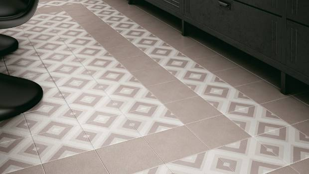 Caprice Deco square pastel floor tiles 200 x 200mm $99.50/sqm from Tile Space.
