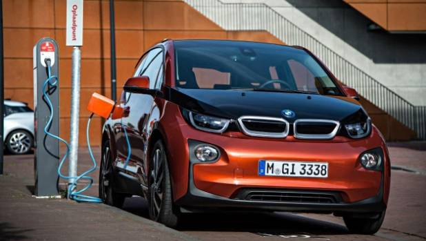 BMW i3 electric car, charging on location.