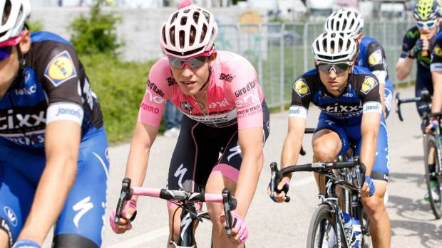 Quick-Step rider Bob Jungels rides in the pink jersey as leader of the Giro d'Italia.