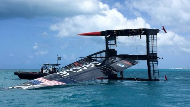 Oracle Team USA capsized their AC50 in the leadup to official Bermuda racing.