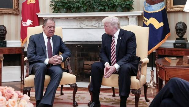 Trump and Russia's Foreign Minister Sergei Lavrov at the White House on May 10. Lavrov's trolling of FBI director James ...