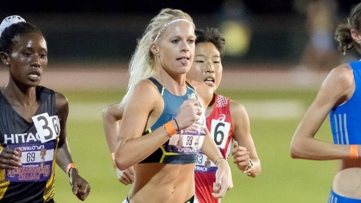 Camille Buscomb recorded a personal best time in the 10,000m race at the Payton Jordan