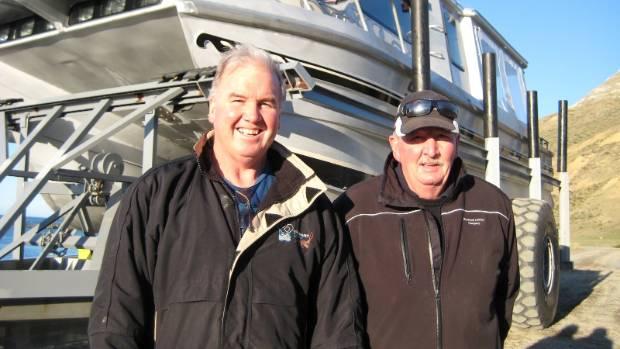 Ward crayfishing brothers Trevor, left, and Dennis Burkhart.