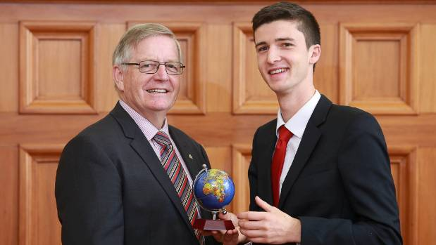 Charlie Norton of Nelson with Freemasons grand master Mark Winger. Charlie was awarded a $6000 Freemasons university ...