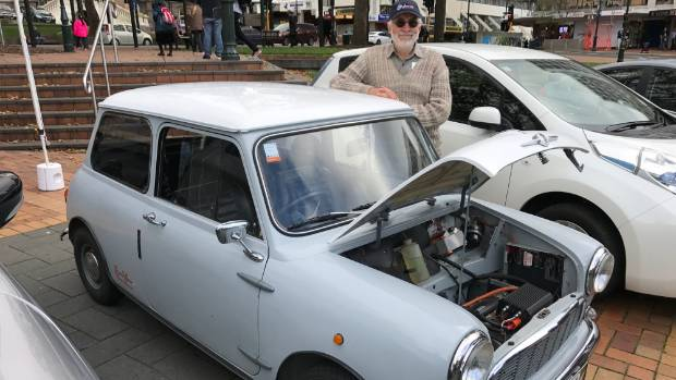 Michael Laba with his pure-electric '66 Mini. It's been a labour of love for nearly two decades.