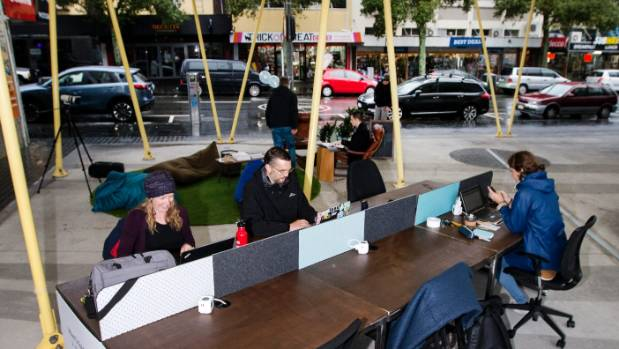 Katherine Blaney, Simeon Theobald and Zara Losch joined the coworking appeal and thought a chance to work outside was ...