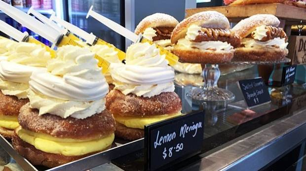 Delicious and beautiful to look at: Glamour Cake's lemon meringue and salted caramel brandy snap doughnuts.