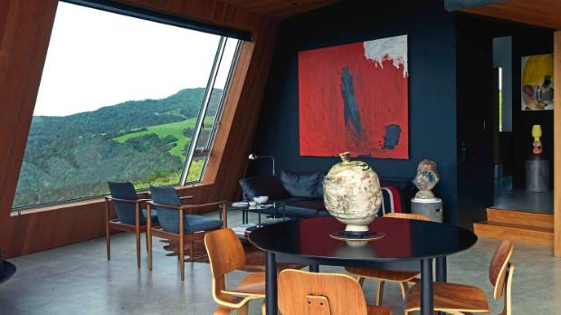 The red Sally Gabori painting on the far wall is Scott's favourite – he bought it in Sydney but never had space for it, ...