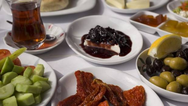 A Turkish breakfast is of epic proportions and includes a range of dishes.