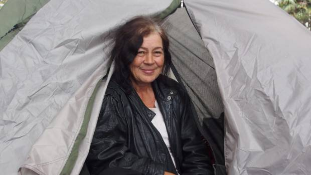 Sheree has been living on a tent on State Highway 2 for the past two months as she has nowhere else to go.
