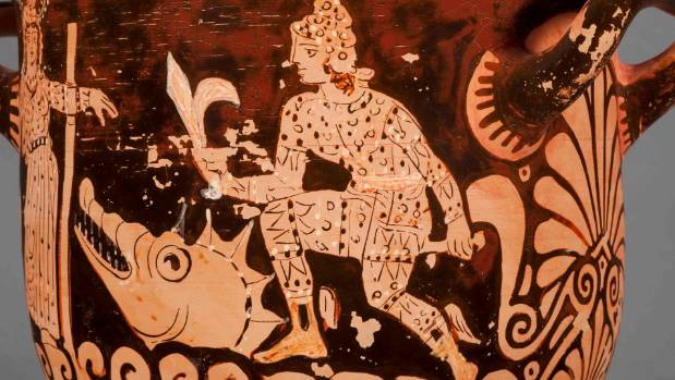 The hero Perseus rescuing Andromeda on Campanian red-figure bell-krater unattributed, ca 375-350 BC