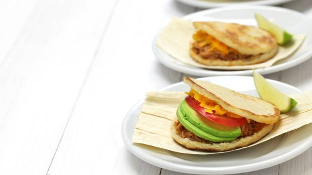 Colombian arepa are sweet pastries you split like a pita for fillings.