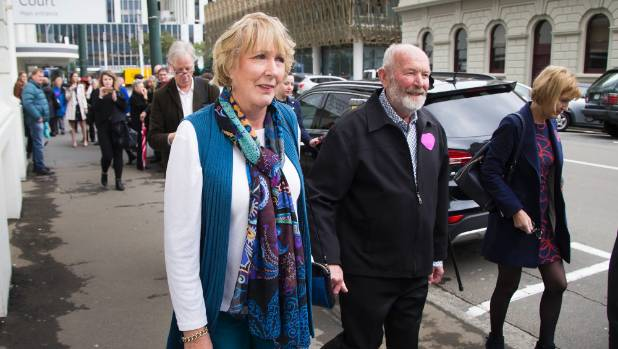 Susan Austen leaving Wellington District Court after an appearance in May.
