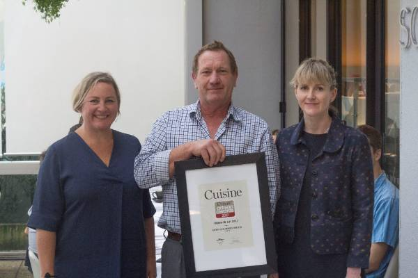 Spencer Johnstone, runner up in the Cuisine Artisan Awards, with deputy editor Alice Neville and head judge Fiona Smith ...