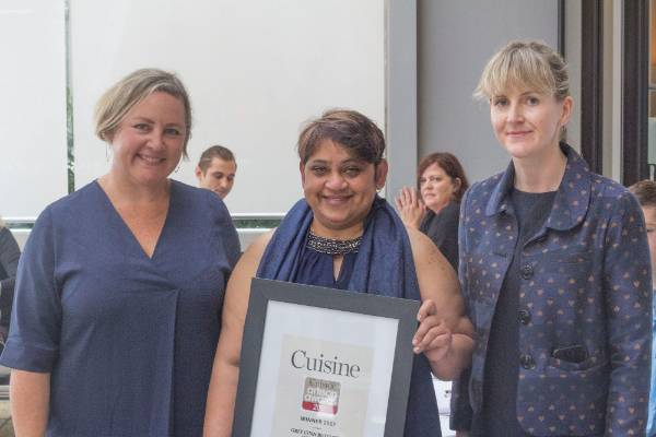 Lucia Rodrigues from Grey Lynn Butchers, who won with their free-farmed Ham With head judge Fiona Smith and deputy ...