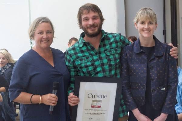 Chris Thorn from Gathered Game New Zealand took out the packaging award, pictured with deputy editor Alice Neville and ...