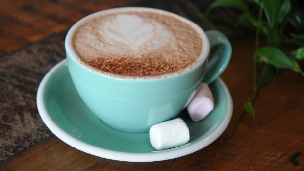 Hot chocolate sweetened with stevia, a plant-based sweetener, with a couple of sugarfree marshmallows also made with ...