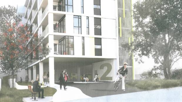 An artist's impression of the front of the planned building.