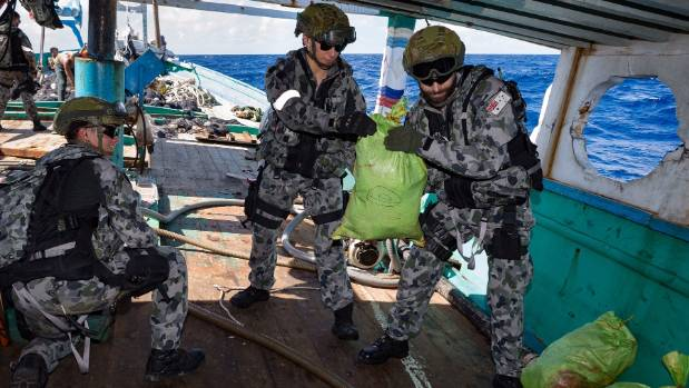 An Australian Navy boarding party seized 250 kilograms of heroin from a ship.