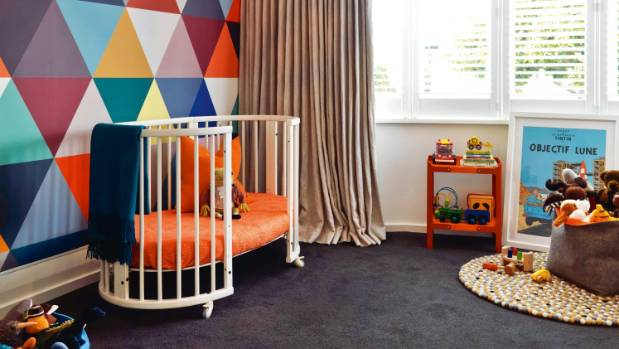 Burnt orange in the cot and shelf draw out the colours in the geometric Bien Fait Mosaic Classic wallpaper in this ...