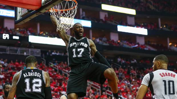 San Antonio Spurs guard Jonathon Simmons dunks the ball during his side's semifinal win over the Houston Rockets
