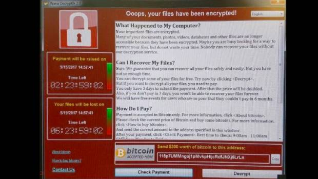 Workers at the UK's National Health Service saw this message on their computers after the cyberattack.