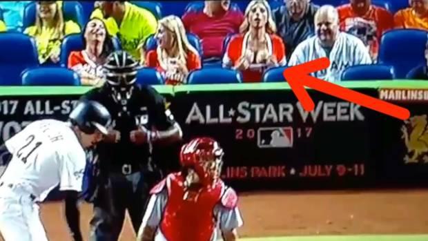 the baseball story behind the woman flashing a pitcher stuff co nz