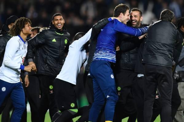 Chelsea celebrate winning the English Premier League title.
