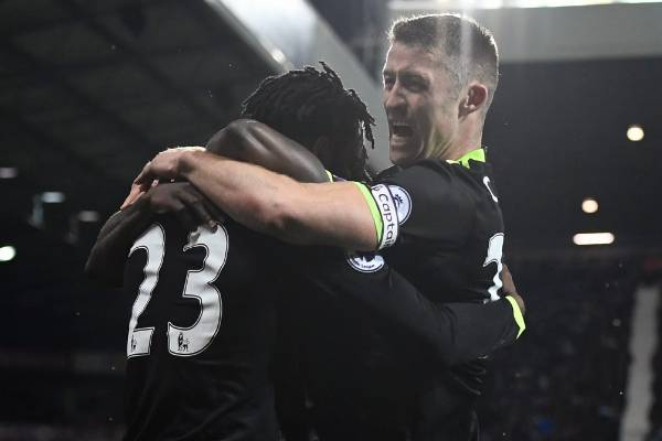 Chelsea's Michy Batshuayi celebrates with Gary Cahill after scoring his side's only goal in a 1-0 win over West Bromwich ...