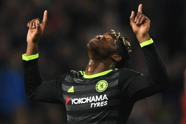 Chelsea's Michy Batshuayi celebrates winning the English Premier League.