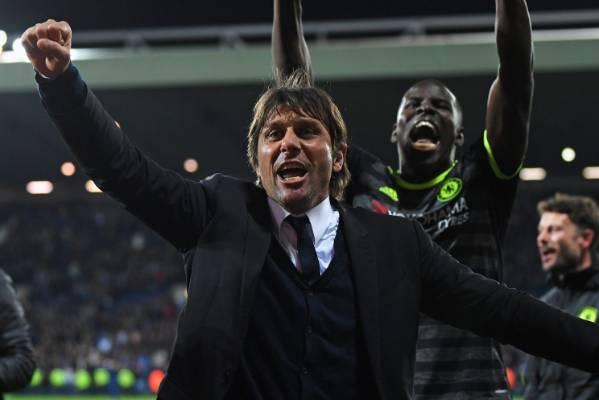 Antonio Conte, manager of Chelsea, celebrates winning the English Premier League title.