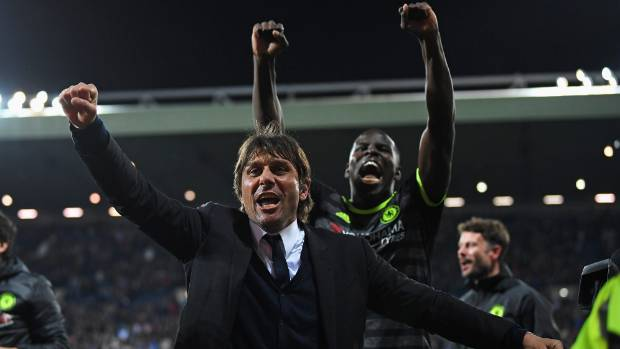 Antonio Conte, manager and head coach of Chelsea celebrates winning the Premier League after a match with West Bromich ...