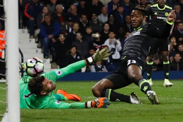 Chelsea's Michy Batshuayi scores the matchwinner against West Bromwich Albion to secure the English Premier League title.