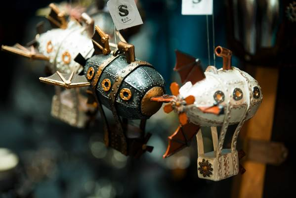 Model dirigibles made by members of the Manawatu steampunk group Futures Past.