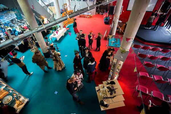 """Futures Past, Manawatu's steampunk group held a """"Steampunk Experience"""" at the Palmerston North City Library."""